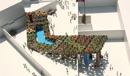 Architettura sostenibile: Il concorso di PS1 Warm-Up Music di NY. Come reinventare uno spazio urbano temporaneo sostenibile. Fra piselli, cavoli, lavanda e menta a bordo piscina