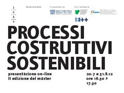 master progettazione integrata avanzata cantiere e produzione industriale di componenti innovativi, università iuav venezia,