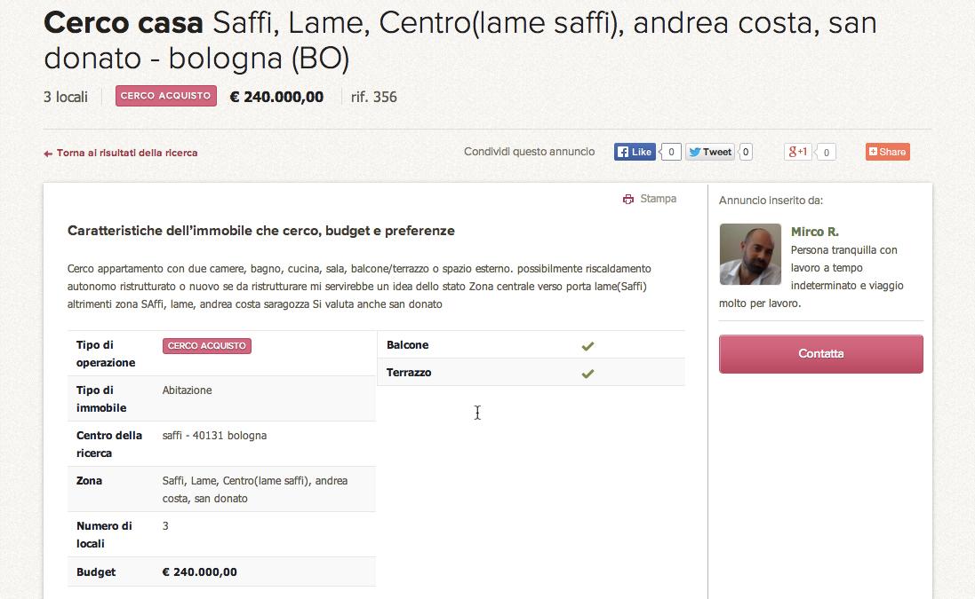CasaNOI.it, Annuncio