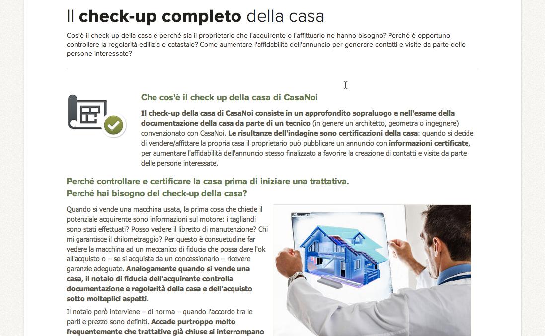 CasaNoi, Check up Casa